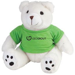 G268LG: Mr. Snuggles  Enjoy the festival of sharing.  Plush teddy bear with t-shirt  Smiling and loveable teddy bear  Safety tested for children  T-shirt available in; Blue, Black, Lime Green and Red