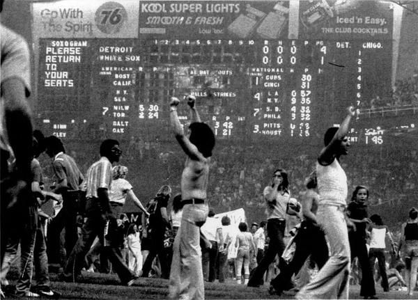 """7.12.1979 """"Disco Demolition Night"""" at Comiskey Park turns into a riot & White Sox forfeit a game to the Tigers ... Super 70s Sports"""