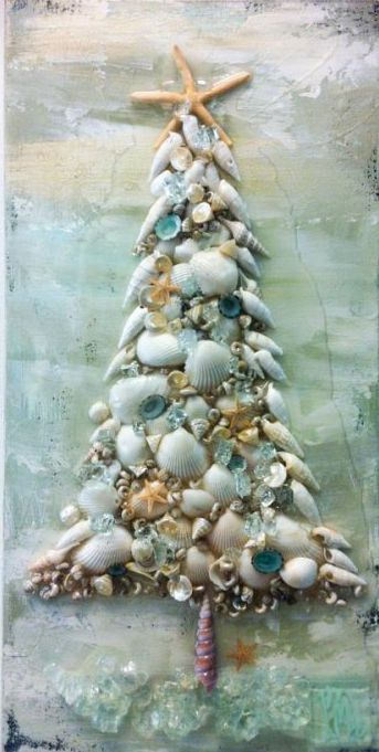 "Amazing Christmas mixed-media piece by artist Mary Hong. It's a colorful 10"" x 20"" creation. Mary uses all recycled and reclaimed materials with glass and she"