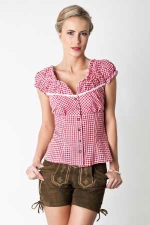 Trachten-blouse Nelly, red white chequered