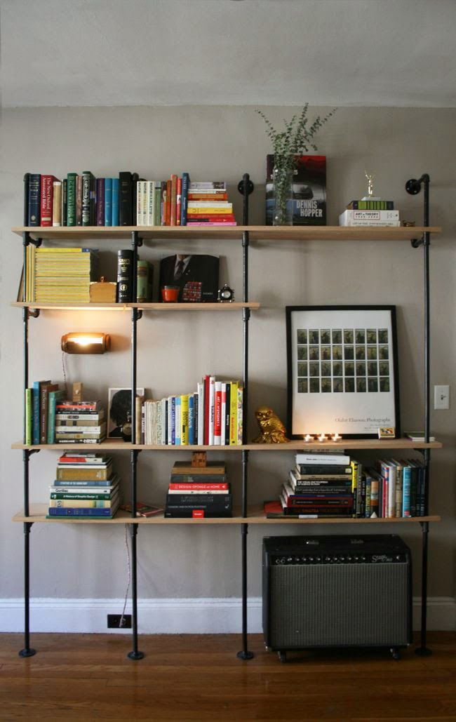 Mod Vintage Life: Industrial Pipe Shelving - lots of configurations and different rooms