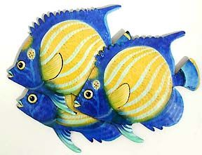 3 Tropical Fish Wall Decor - Painted Metal Outdoor Design -Hand painted tropical fish metal wall hanging Tropical art design. Handcrafted from recycled steel drums in Haiti. Caribbean wall decor.   * Hand Painted Steel Drum Art of Haiti - More tropical design ideas can be found at www.TropicDecor.com