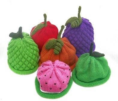And the classic fruit hats. I started a melon one once, but gave up when I couldn't find any white wool. I might have to give some of these a go too, probably the apple since I have the red wool