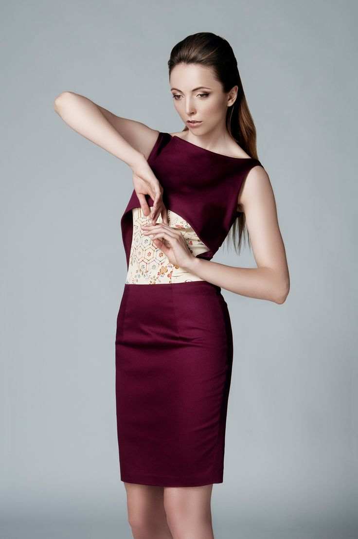 AUTHENTIC SILKS FROM JAPAN IN LEMICHÉ F/W 2016 COLLECTION - GARNET PENCIL DRESS
