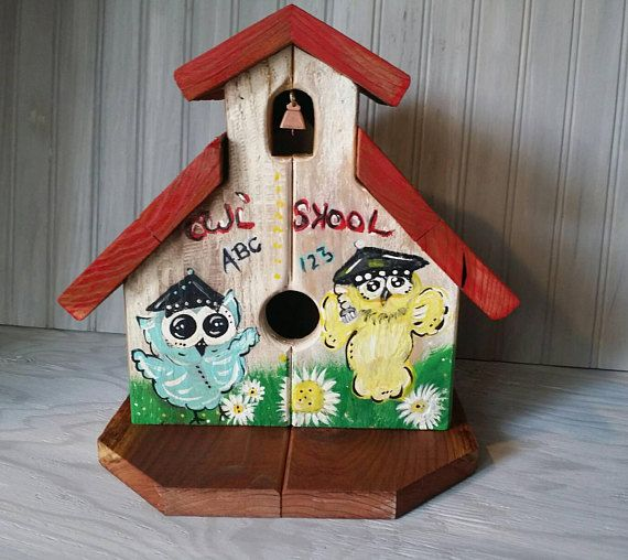 Outdoor Birdhouse Cute Redwood School Cheerful Garden Owl gift