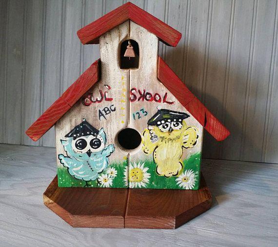Outdoor Birdhouse Cute Redwood School Cheerful Garden Owl gift
