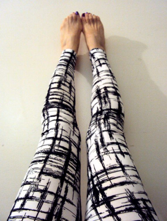 Graphic Leggings Yoga Pants Black and White Leggings Stretch Leggings Workout Pants Spandex Running Tights by GrahamsBazaar, $20.00