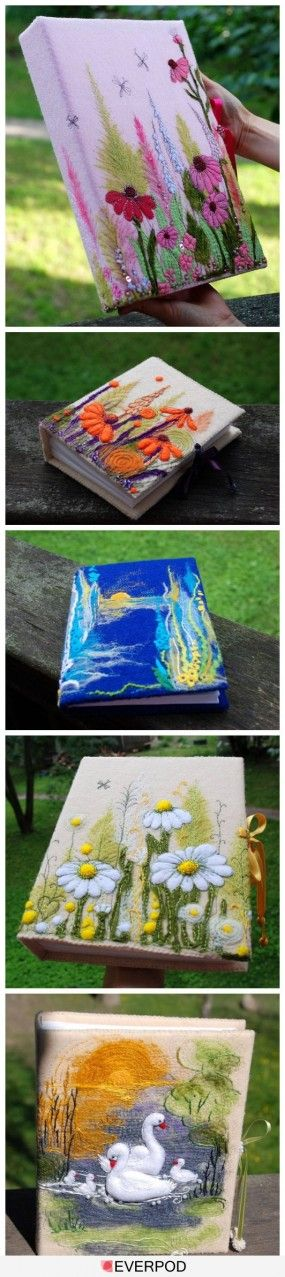 Handmade Felt Book Cover : Images about felted journal covers on pinterest