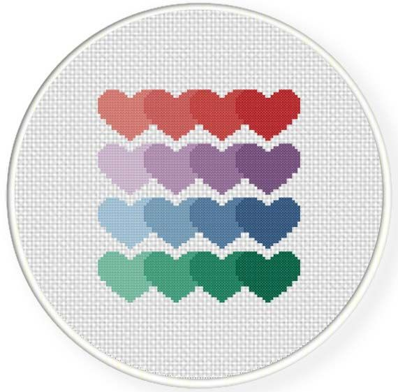 Best cross stitch hearts images on pinterest