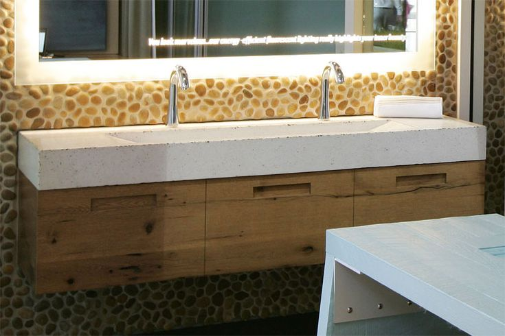 Double Faucet Trough Style Sink | Trough Sink - Custom Bathroom Trough Sink Designs For Commercial And ...