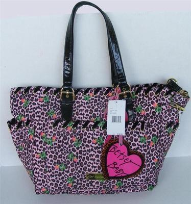 BETSEY JOHNSON 3 PC Cheetah Baby Rosebud Rose Floral XL Tote Diaper Bag Purse