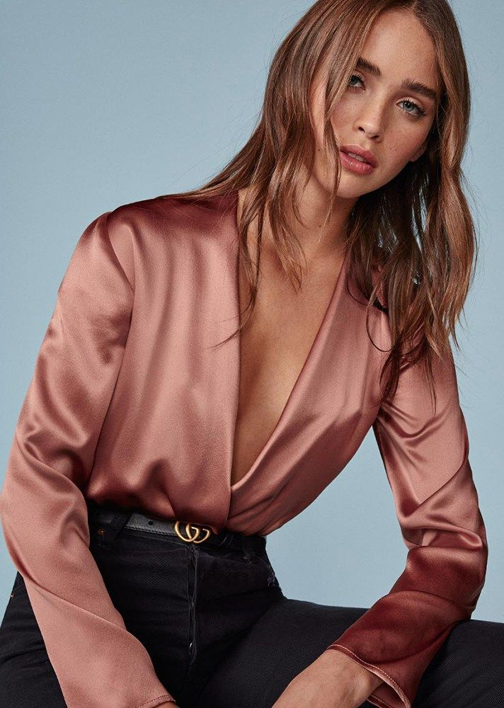 The Best Bodysuits to Shop | Spring 2017 | Reformation Aerin Bodysuit, $168; at Reformation | Satin dusty pink