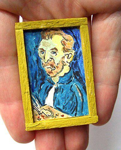 OOAK 1/12 Escala casa de muñecas Miniatura Pintura - Van Gogh - Auto Retrato