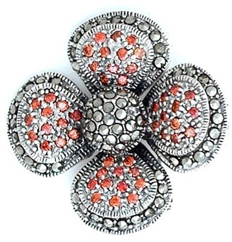 Intricately Designed Marcasite Flower with Garnet Ladies Brooch * More info could be found at the image url. (This is an Amazon Affiliate link and I receive a commission for the sales)