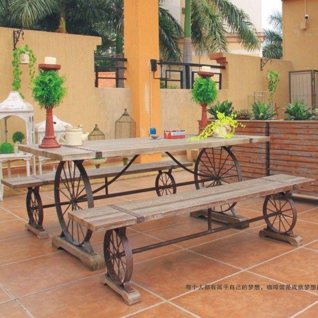 Nordic american retro muebles hierro forjado recreaci n - Mesas de madera para exterior ...