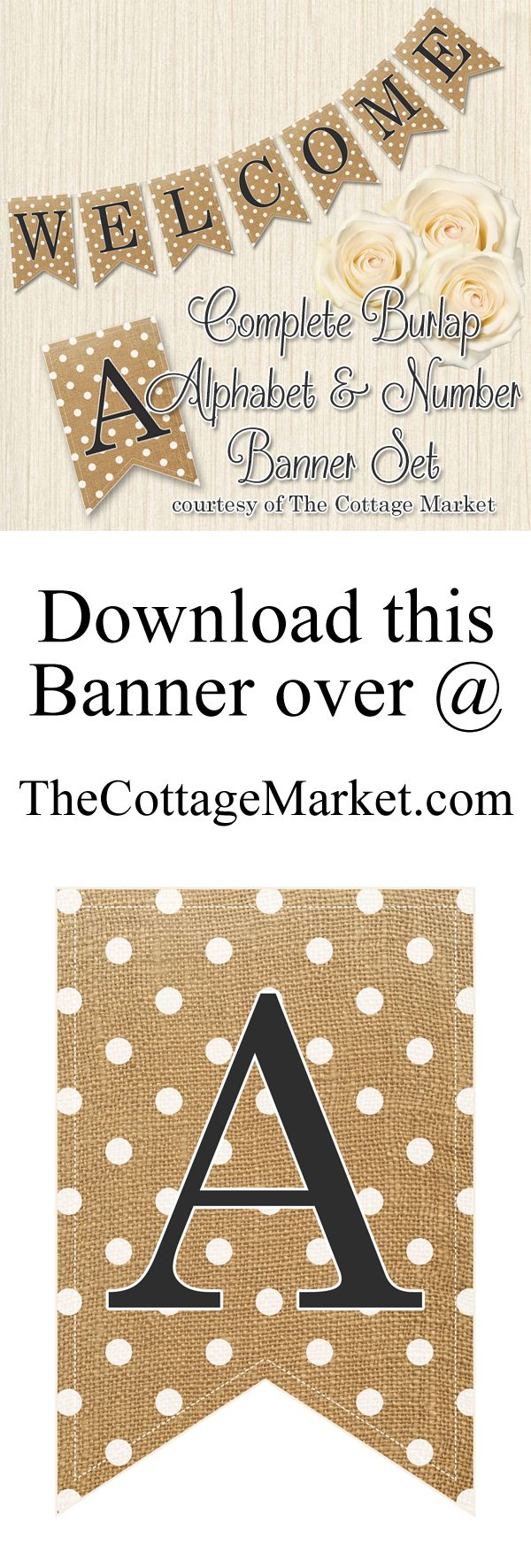 Free Printabe COMPLETE Alphabet and Number Burlap Banner - The Cottage Market