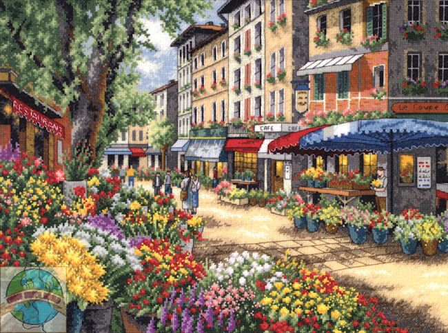 Market place in Paris, in cross stitch