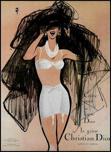 Advert for Christian Dior Girdles with Fashion Illustration by René Gruau c.1950.