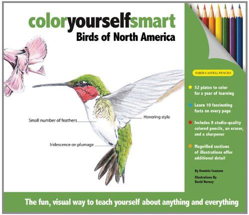Dominic Couzens Birds Of North America Color Yourself Smart Book And Pencils