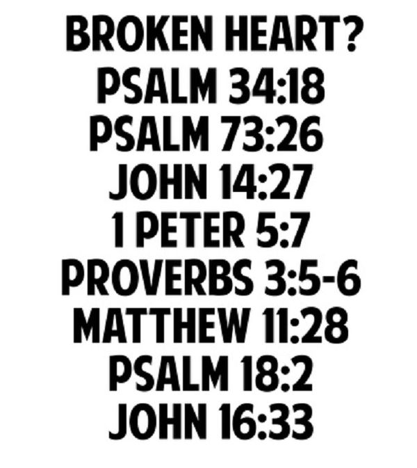 Scriptures for a broken heart, heart ache, tired heart. Whatever you want to call it.