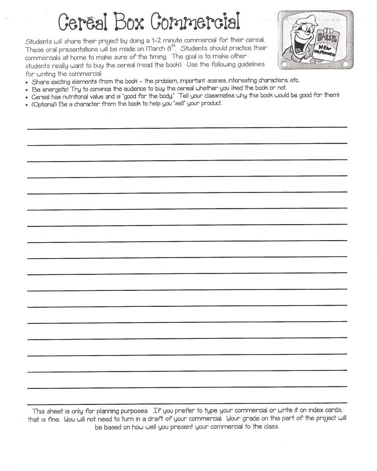 49 best Writing images on Pinterest Teaching ideas, Teaching - cereal box book report sample