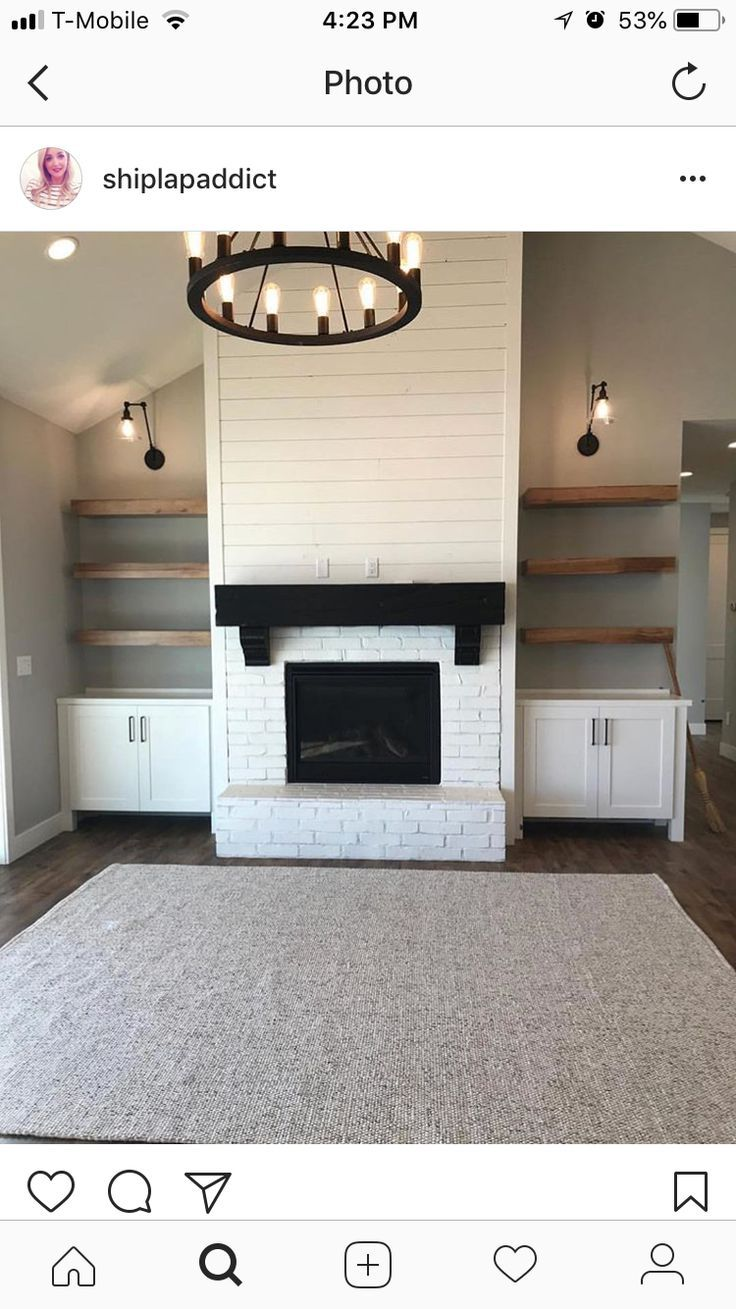 Love These Shelves Familyroomdesignideas Familyroomdesignlarge Familyroomdesignl Fireplace Built Ins Farm House Living Room Living Room With Fireplace