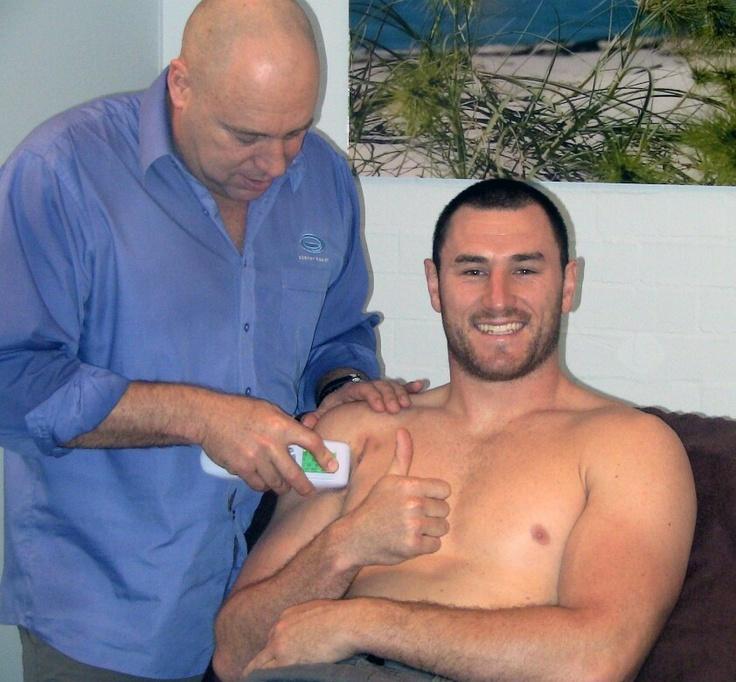 Eels forward Ben Smith getting some SCENAR treatment following shoulder surgery