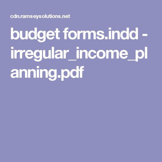 budget formsindd - irregular_income_planningpdf Cash Money - budget forms