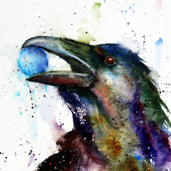 RAVEN Large Watercolor Print by Dean Crouser by DeanCrouserArt, $65.00