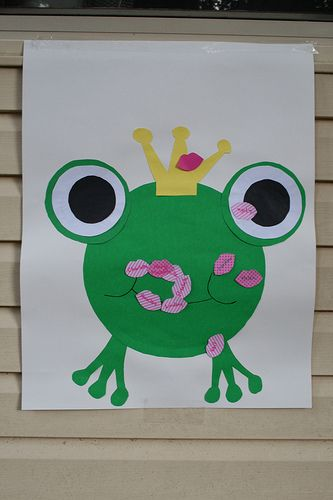 Put bright red lipstick on the girls and have them kiss the frog!  :)