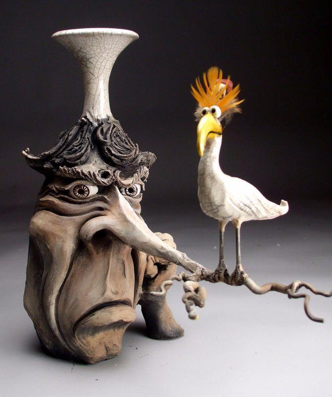 Superior Old Craggy Faced Vase With Weird Bird Motif: Grafton Pottery Face Jugs