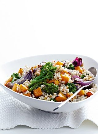 Warm pearl barley and vegetable salad.  Pretty nice as is.  Bloody grouse with some salty feta, mmnomnom!