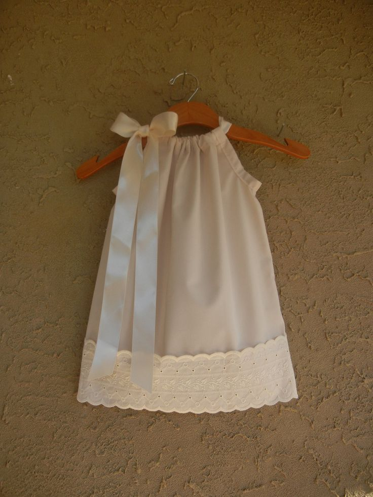 White Or Ivory Pillowcase Dress With Eyelet Lace Sizes