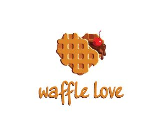 Waffle love Logo design - Sweet logo in the form of a wafer as the heart. It is filled with chocolate and decorated with cherry Price $200.00