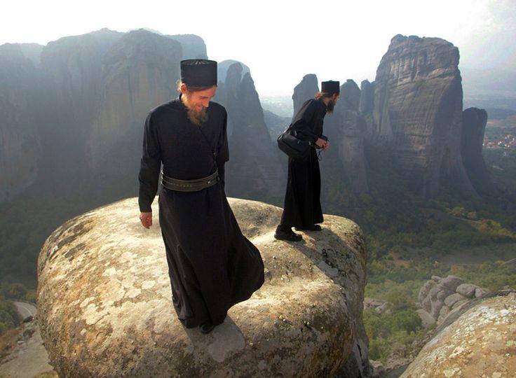 Orthodox Monks in Meteora by Bazan Vladimir