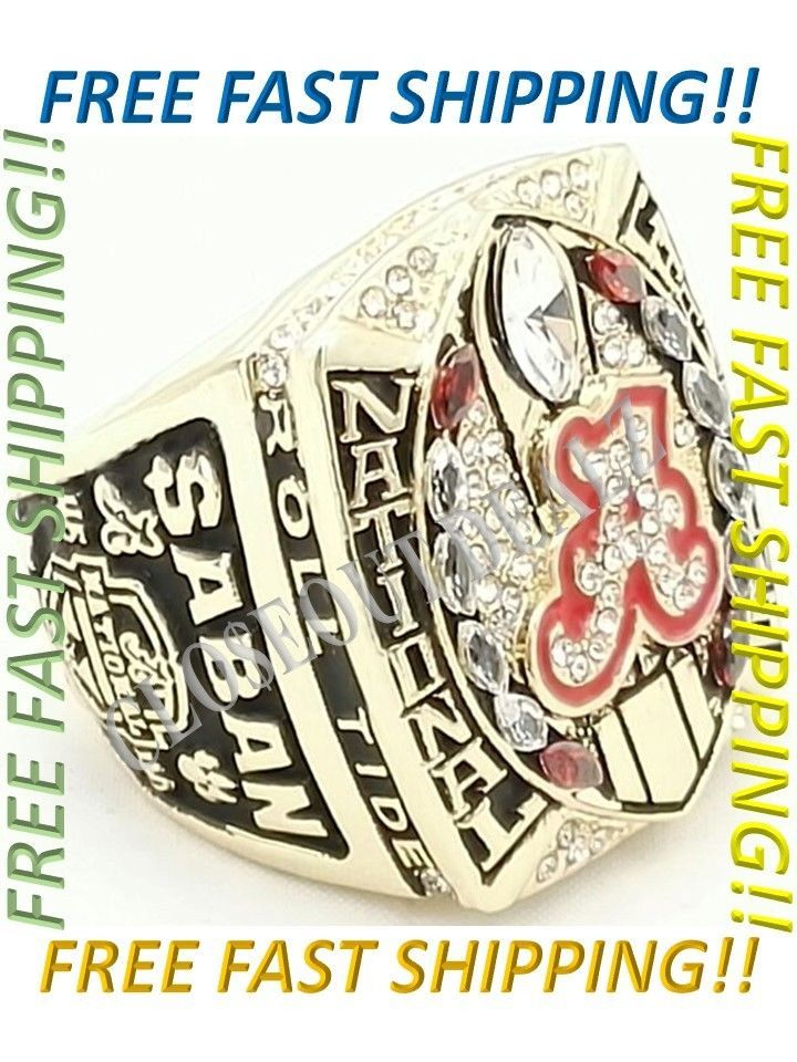 2015 2016 Alabama Crimson Tide Football National Championship Ring Size 7.5 - 14 CLO$EOUTDEALZ  Buy with confidence knowing we stand by our motto  Customer Satisfaction is our #1 priority!  Don't just take our word, please read our feedback and see what our customers have to say about us. Our competitors cannot match our customer experience.  Item Description2015 2016 ALABAMA CRIMSON TIDE NCAA FOOTBALL CHAMPIONSHIP RING    This is an absolute must have for any and all  Roll Tide  fans…