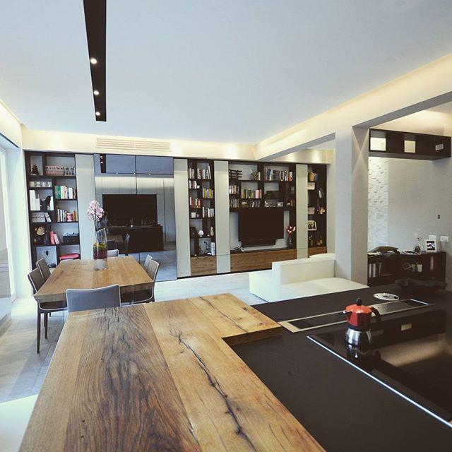 #livindesign by #emporioorenga. #apartment #living #bookcase #wood #kitchendesign #doimocucine #bologna