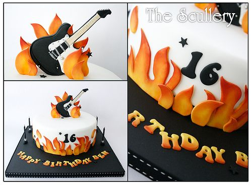 ROCK & ROLL THEME:  Electric Guitar Cake with Flames- Happy 16th Birthday  cake