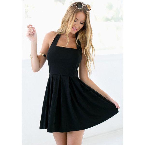 Black Halter Skater Dress Lookbook Store ($20) ❤ liked on Polyvore featuring dresses, halter neckline dress, skater dress, halter-neck tops, halter-neck dress and halter neck skater dress