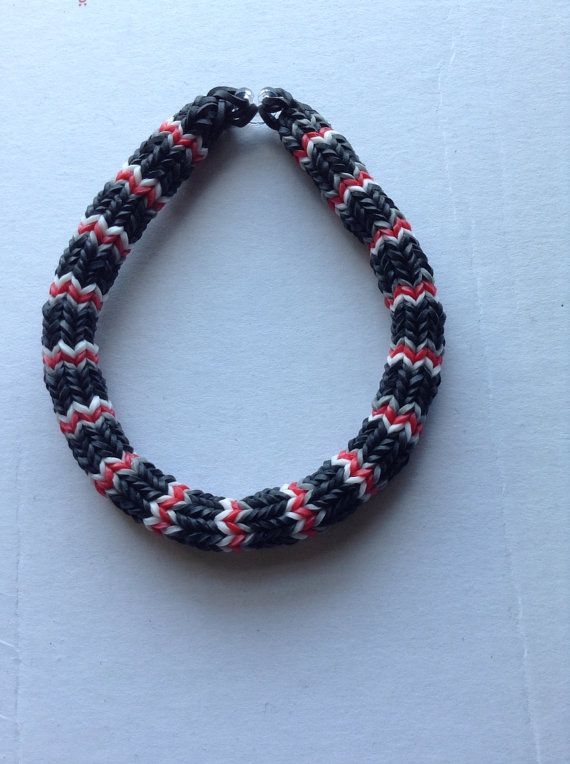 Black White Red And Gray Hexafish Rubber Band Friendship Bracelet Bangle Jewelry Crafts Pinterest Loom Bracelets Rainbow