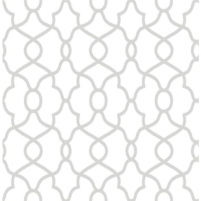 Nuwallpaper 30 75 Sq Ft Metallic Vinyl Geometric Self Adhesive Peel And Stick Wallpaper Lowes Com Nuwallpaper Vinyl Wallpaper Contemporary Trellis
