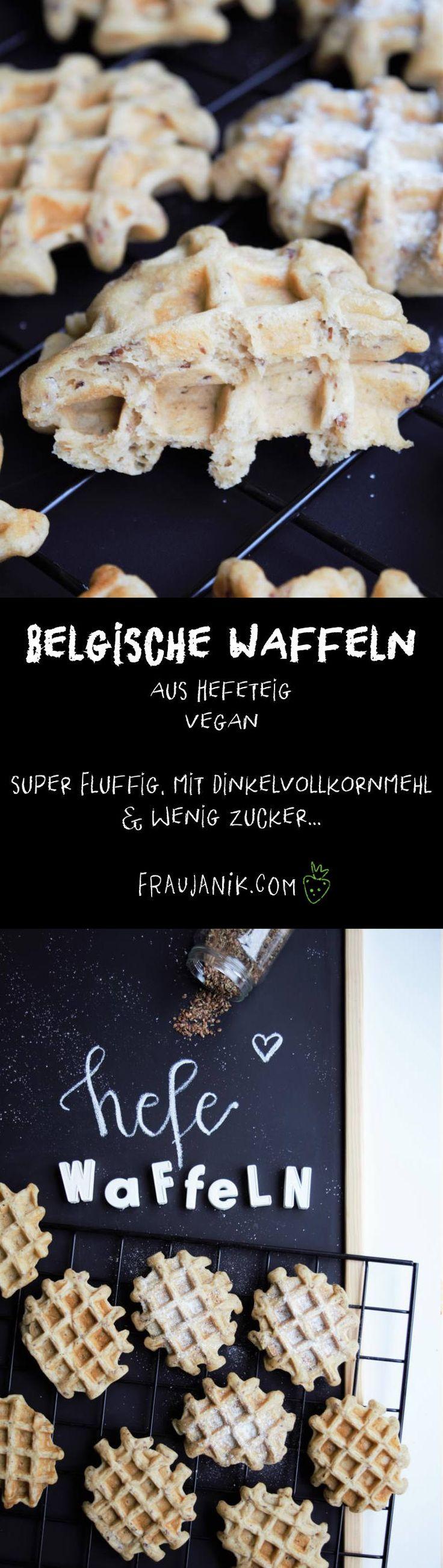 Belgische Waffeln aus Hefeteig | vegan - super fluffig, mit Dinkelvollkornmehl & wenig Zucker... #waffeln #gesundewaffeln #belgischewaffeln #dinkelwaffeln #hefewaffeln #gesundbacken #frühstück #veganewaffeln