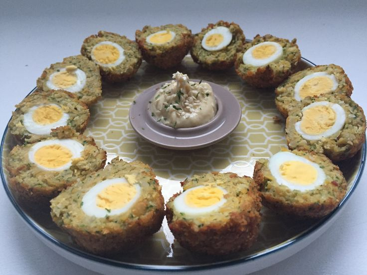 Quail Scotch Eggs for a canapés platter. Mix is made with chickpeas rather than meat. Spiced with cumin, and served with a tahini dip
