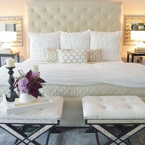 30 best images about glamorous bedrooms on pinterest for Beautifully decorated beds