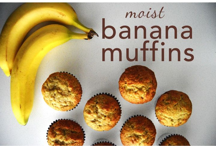 The best moist banana muffins around. Here's a recipe with a list of ingredients and directions to bake the perfect banana muffins. Super easy and quick!