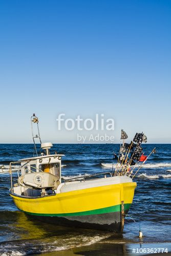 """Pobierz zdjęcie royalty free  """"Yellow boat on the sea."""" autorstwa gubernat w najniższej cenie na Fotolia.com. Przeglądaj naszą bazę tanich obrazów online i odnajdź doskonałe zdjęcie stockowe do Twoich projektów reklamowych!"""