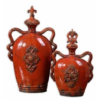 Burnt Orange Kitchen Decor 19525 Raya Containers In Distressed Crackled Burnt Orange