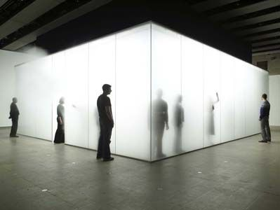 "One of my favourite installations by Antony Gormley ""Blind Light"" 2007 at the Hayward Gallery. This glass room is filled with water vapour. When you enter it, it's like being in thick wet fog: you can't see very well in front of you at all. People loom up out of the fog, you bump into people. You are hesitant. You laugh. It's a shared experience as well as a individual one. Mrs P."
