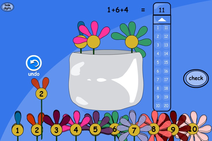Flower Jar: An activity for adding and counting in ones, twos, fives or tens. Choose a target number and ask pupils to add flowers to the vase whose petals equal that total.
