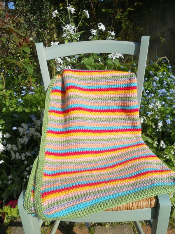 NEW HAND-MADE STRIPED CROCHET GRANNY BABY BLANKET IN COLOURS OF THE RAINBOW ~ NOW ON MY EBAY SITE